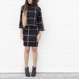 GRID PRINT SWEATER AND SKIRT